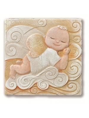 icona birbangelo che dorme 20cm x 20cm - Cartapietra