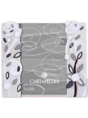 portafoto foglie al vento 13 x 18 bianco - Cartapietra