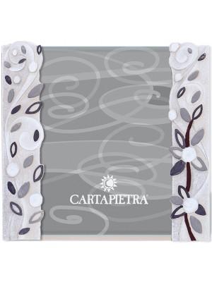 portafoto foglie al vento 18 x 24 bianco - Cartapietra