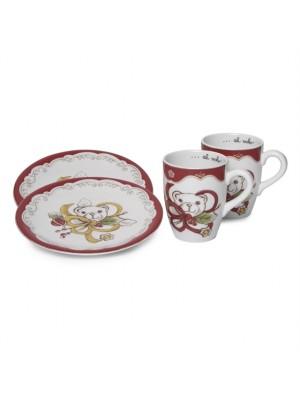 Confezione 2 Mug + 2 Piattini Dessert Dolce Natale - Thun