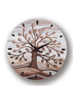 orologio albero della vita 50 x 50 cioccolato - Cartapietra