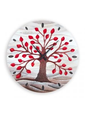 orologio albero della vita 50 x 50 rosso - Cartapietra